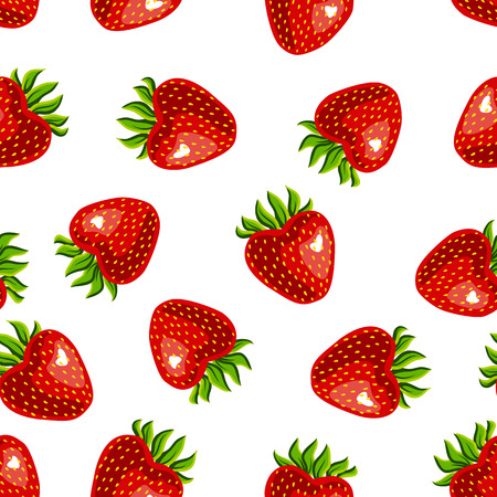 Seamless strawberry pattern on white background - illustration strawberries isolated