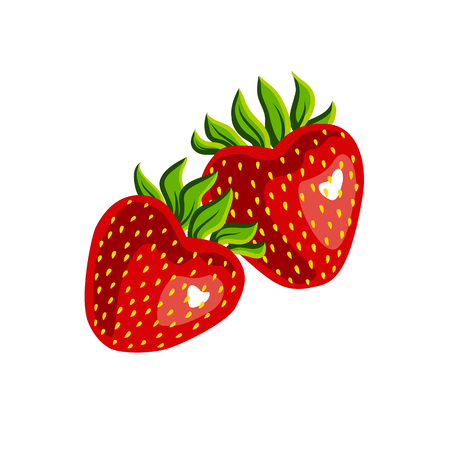 Two strawberries isolated on white background. Strawberries in the shape of heart