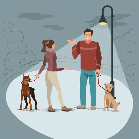 Young people (man and woman) walk in the park with their dogs in the evening when lighted lanterns. Illustration of people with pets in the street
