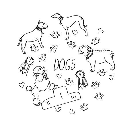 Set of design elements - dog breeds (dachshund, laika, dalmatian, retriever, beagle, german shepherd), awards, heart, paw trace isolated on white background in flat style. Contour images Illustration