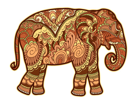 Drawing stylized elephant. Freehand sketch for adult anti stress coloring book for adultpage with doodle and elements. Multicolor bright colors