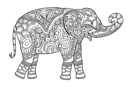Drawing elephant, for coloring book for adult or other decorations. Black and white version illustration