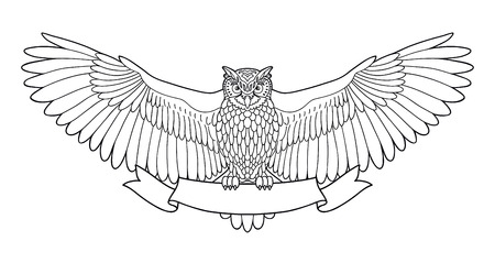 Owl. Eagle owl outline emblem in geometric hipster style with ribbon. Birds. Black white hand drawn doodle. Icon design on white background. Vector line icon Illustration