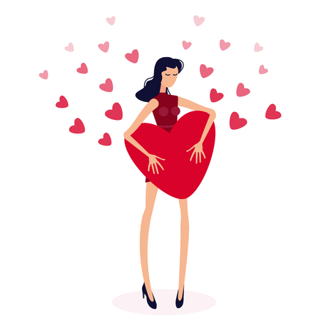 Girl holding big red heart.Valentine's hearts on love day concept. Isolated figure of a girl with long hair on the background of a lot of number of Valentine hearts. Young model, flat Illustration