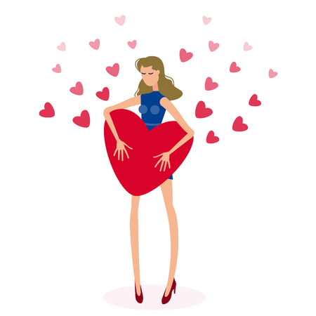 Beautiful girl holding big red heart. Isolated figure of a girl with long hair on the background of a lot of number of Valentine hearts. Vector flat Illustration Illustration