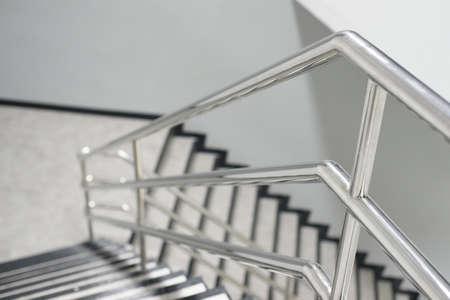 The Aluminum railing handle of staircase Foto de archivo