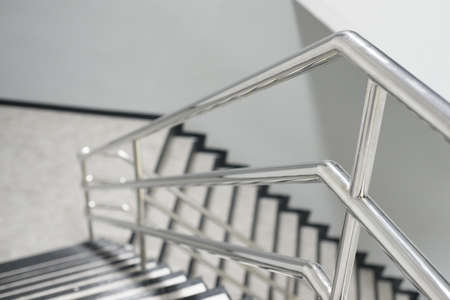 The Aluminum Railing Handle Of Staircase Stock Photo, Picture And Royalty  Free Image. Image 78313881.
