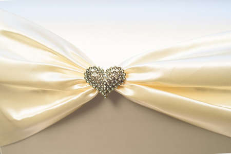 Heart shape cristal brooch on cloth