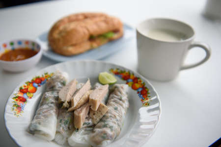 Vietnamese Breakfast and french bread Stock Photo