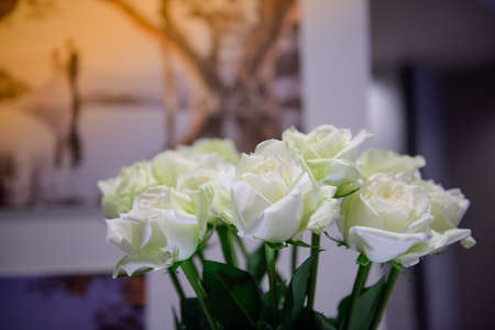 White roses are decorated at the party.