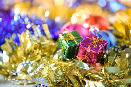 Blur backgound, Santa Claus Gift Box And colorful ribbons. Prepare for decorations during Christmas and New Year. Banco de Imagens