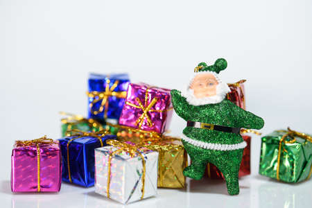 Blur backgound, Santa Claus Gift Box And colorful ribbons. Prepare for decorations during Christmas and New Year. Archivio Fotografico