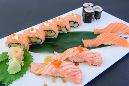 Japanese food, intended from high quality raw materials, fresh, beautiful, healthy, ready to serve for everyone to taste