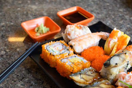 Zushi, one of the national dishes of Japan Which has been highly popular throughout the world Stock fotó