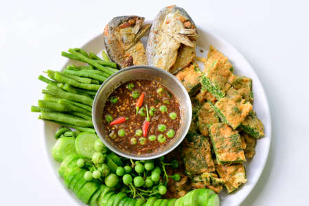 Mackerel Chili Paste is another popular dish for Thais and tourists visiting Thailand. Archivio Fotografico