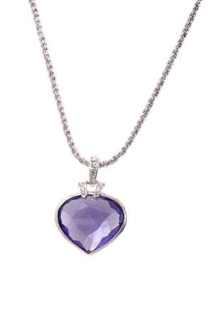 diamond shaped: Silver pendant and blue heart shaped diamond on white background  Stock Photo