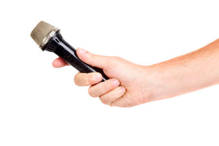 hand hold microphone for  interview, isolated photo