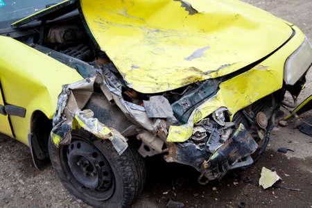 crashed: Traffic accident. Yellow crashed car