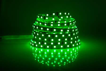 Green glowing LED garland, strip  Stock Photo