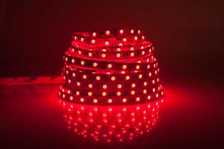 Red glowing LED garland, strip