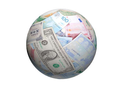 money sphere: Ball or Sphere of different banknotes  World Paper Money background
