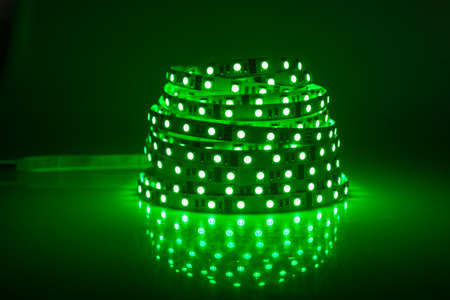 Green glowing LED garland, strip  Stock Photo