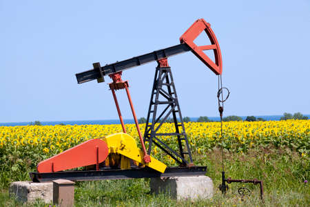 oil pump with sunflowers field on the background photo