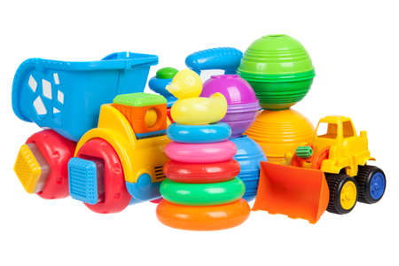 babyspeelgoed collectie geïsoleerd op wit Stockfoto