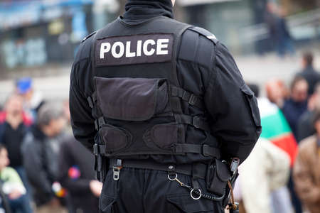 detail of a police officer Stock Photo