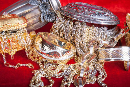 scrap trade: Mixed gold and silver jewelry. treasure chest