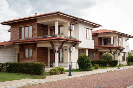 suburban neighborhood: Suburban houses. Perfect neighborhood