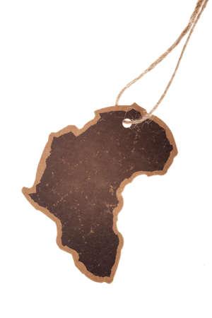 etiquette voyage: Étiquette vintage, Continent Afrique silhouette, isolé
