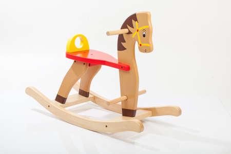 wooden rocking horse. Children toy Standard-Bild