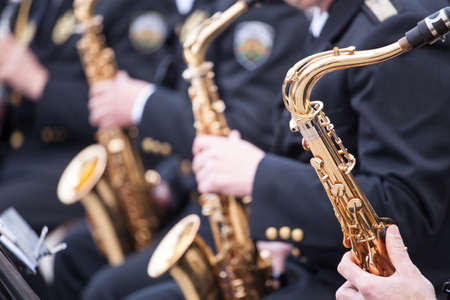 musicians are playing on Saxophone 写真素材