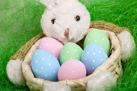 decorated eggs: Easter basket with decorated eggs and the Easter bunny Stock Photo