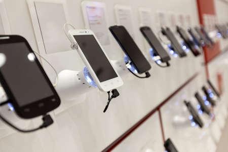 new mobile phones in showroom Stock Photo