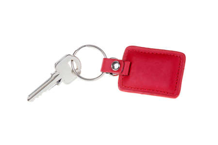 keychain: key with red Leather keychain isolated on white