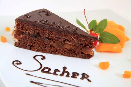 fresh chocolate sacher cake with decoration Stock Photo