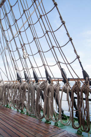 ship deck: ropes on an old vessel, sailing