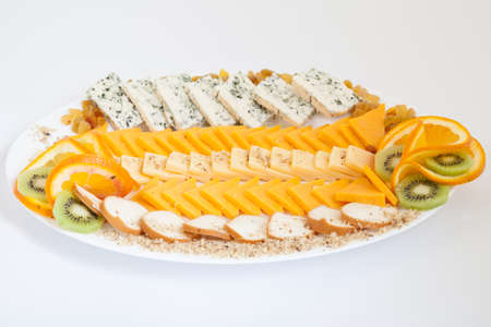 cheese platter: Delicious cheese platter with various cheeses