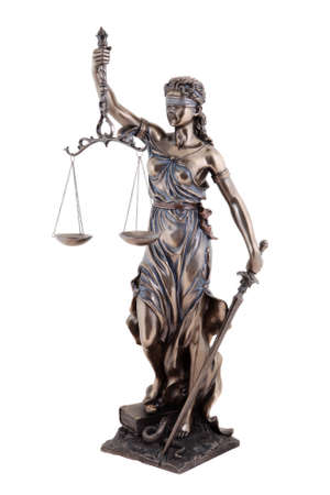 justice scales: Statue of justice, Themis mythological Greek goddess, isolated