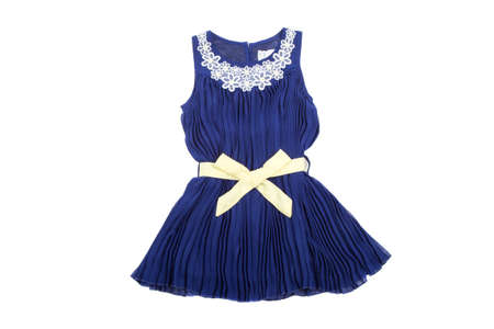 Blue children dress with wellow ribbon, isolated on white