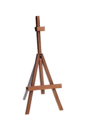 easel: empty easel, isolated on white