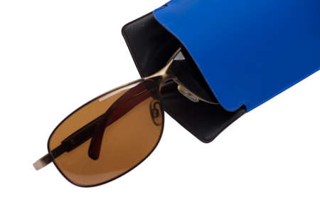 shortsighted: Sunglasses in blue case isolated on white background.