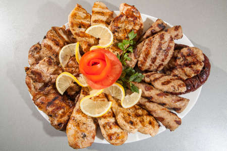 meat grill: Food plate of different meat. barbecue grill Stock Photo