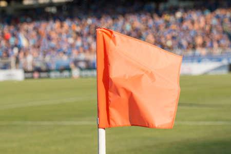 the corner: Corner flag on an soccer field during a football mach