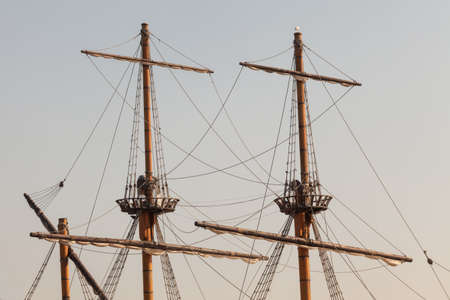 topsail: Masts of a pirate ship Stock Photo