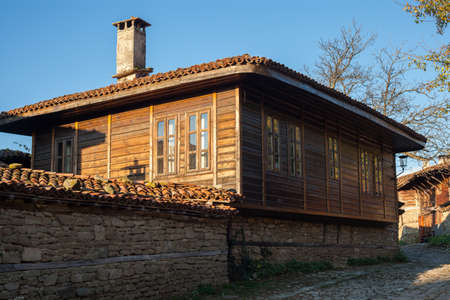 revival: Old wooden house in Zheravna (Jeravna). The village is an architectural reserve of Bulgarian National Revival period (18th and 19th century) Editorial