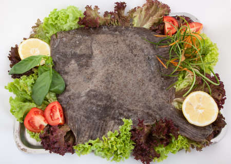 prepared: whole prepared turbot with vegetables Stock Photo