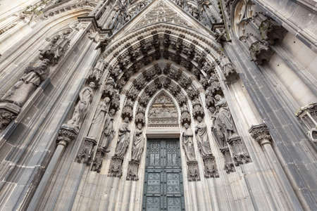 dom: Entrance to Cologne Cathedral Dom. Cologne, North Rhine-Westphalia, Germany